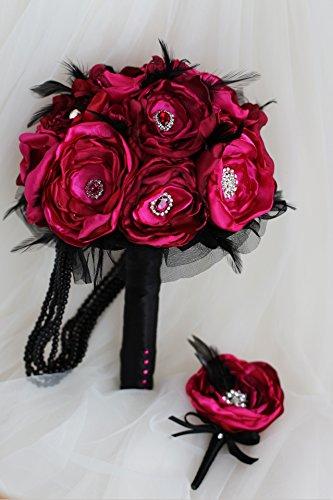 IFFO - Broche de boda rojo rubí hecho a mano con tela de organza y plumas negras ramo de novia de vino rojo rosa ramo de tela de novia (novio Boutonniere)