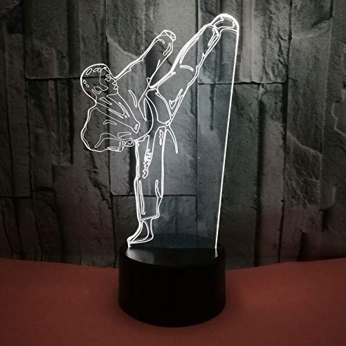 Luz nocturna LED creativa, 3D, luz de visión con degradado de color, lámpara de mesa de karate, USB, modelado, iluminación para dormitorio, decoración para regalos y niños