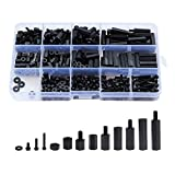 Litorange 320PCS M3 Male Female Nylon Hex Spacer Standoff Screw Nut Threaded Pillar PCB Motherboard Assorted Assortment Kit (Black)