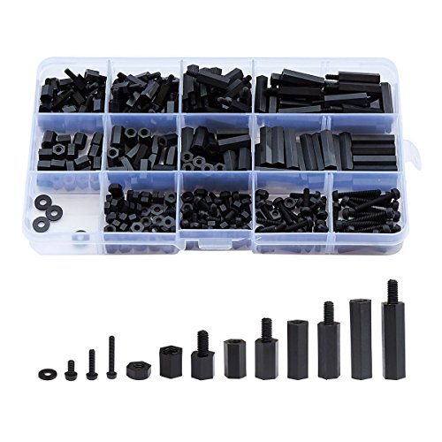 Litorange 320PCS M2 Male Female Nylon Hex Spacer Standoff Screw Nut Assorted Assortment Kit (Black)