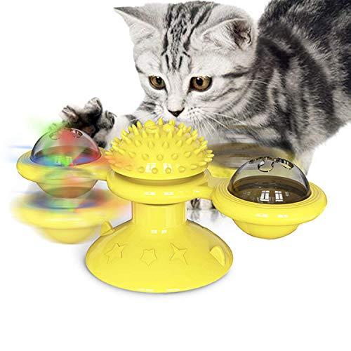 Bestdon Windmühle Katzenspielzeug,Interaktives Necken Katzenspielzeug mit LED-Ball,Katzenminze Ball und Saugnapf