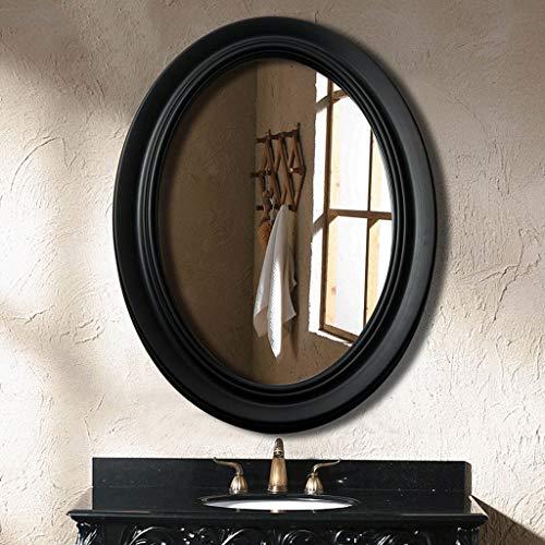 YXN Espejo de baño Ovalado Europeo Espejo de Maquillaje Anti-vaho sin deformación Espejo de Cristal HD Blanco y Negro (Color : Negro)