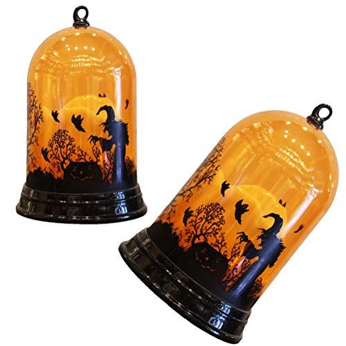 UKCOCO Iluminación de Halloween 2 Piezas de luz de Vela de Halloween Que Cambia de Color, Funciona con Pilas, lámpara de Noche de Escritorio, Adornos Decorativos (sin Pilas)