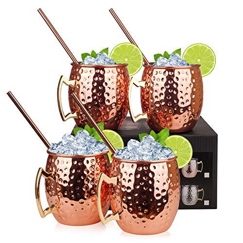Hossejoy Moscow Mule Kupferbecher: Satz von 4 – Umfasst 4 x Becher 550ML, 4 Trinkhalme in Geschenkbox – Großartig für Cocktail Gekühlte Getränk – 100% Kupferzubehör Liebhaber