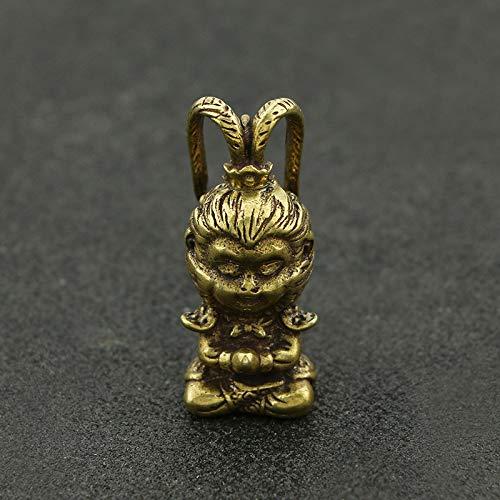 YOPDNE Retro adornos de latón puro en el interior del coche accesorios lucha contra el mono de bronce de Buda
