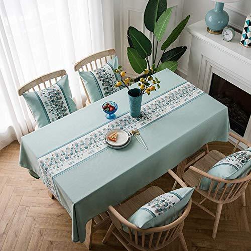 Zuid-Amerikaans katoen en linnen, klein koel, waterdicht, eenvoudig thuis, rechthoekig tafelkleed/tafelkleed/tafelkleed/tafelkleed/tafelkleed/tafelkleed Scandinavische vlag, groene ster (met tafelvlag) 90 x 90 cm