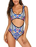 Ekouaer Womens One Piece Swimsuits Monokini Swimwear with Wire Free Padded Bra Hollow Out Bathing Suits