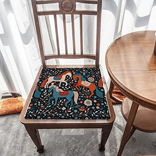 Cojín de asiento extraíble para decoración del hogar duradero para exteriores, jardín, patio, cocina, oficina, cojín cuadrado lavable, cómoda funda de silla, patrón de caballo nórdico en azul