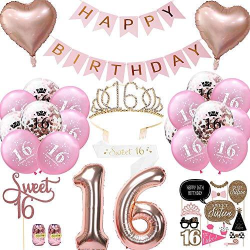 Anyingkai Geburtstagsdeko 16 Jahr Mädchen, Deko 16. Geburtstag, Luftballon Blau Konfetti zum 16. Geburtstag Party Kindergeburtstag Happy Birthday Dekoration Erster Geburtstag