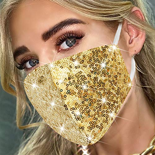 MLGDA Sparkly Sequins Mouth Masc Fashion Designer Glitter Cotton Face Cover With Adjustable Ear Loops Reusable Masquerade Party Nightclub Rave Festival Sequins Face Covering (Gold)