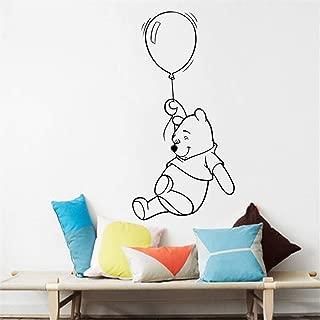 Ewdsqs Winnie The Pooh with Balloon Wall Sticker Baby Nursery Cute Bear Animal Animation Decal Wall Art Vinyl Mural Kids Boys Girl Bedroom Baby Nursery Decoration