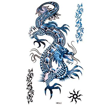 GGSELL King Horse Blue dragon temporary tattoos waterproof cool and fashion