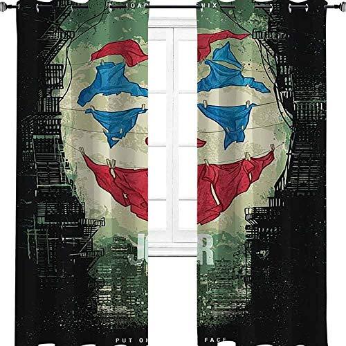 Joker Artwork película cómic, divertida pintura al óleo, payasos, oscurecimiento de la habitación, aislamiento térmico, cortina de ventana para sala de estar, poliéster, multicolor, 2 panel(36'W x 96'L W92cmxL245cm)