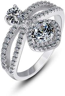 lem Abrillantador de anillosAnillo de Bodas de Moda de Plata de Ley 925 Ideal para los Amantes del Regalo