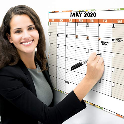 Dunwell 18x27 Dry Erase Calendar - (Floral) Undated Large Dry Erase Calendar for Wall, Reversible Reusable Monthly and Weekly Dry Erase Calendar, Wipe Off Calendar Poster Shipped Rolled Not Folded