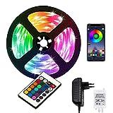 Tira Led 5 Metros 12V · 5050 RGB Tiras de Luces LED Bluetooth · Tiras LED Impermeables IP65 · Mando a Distancia · 150 Bombillas Luces Leds · [Clase de eficiencia energética A+++] · Kit Completo