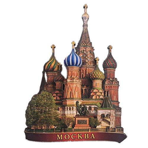 Weekinglo Souvenir Frigorífico Imán Moscú Rusia 3D Artesanía De Madera Hecho A Mano Turista Recorrido Recuerdo de la Ciudad Carta de Refrigerador Etiqueta