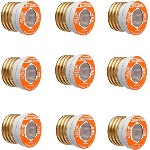 Bussmann BP/TL-20 20 Amp Time Delay, Loaded Link Edison Base Plug Fuse, 125V UL Listed Carded, 3 Blister Pack of 3 fuses (9 fuses Total)