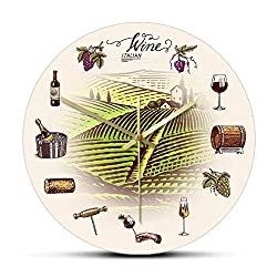 Wall Clock Grape Wine Barrel Bottel Glass Vineyard Retro Wall Clock Hillside Winery Décor Kitchen Timepieces Wall Watch Wine Drinkers Gift for Any Room in Home Dining Room Kitchen Office