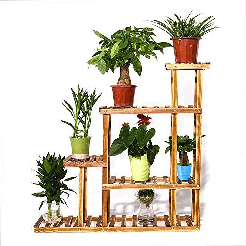 UNHO supporto in legno per vasi floreali con 5 ripiani, multifunzione, per interni ed esterni, ideale per patio, balcone, e decorazioni