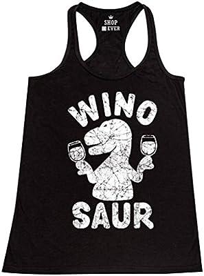 Shop4Ever Wino Saur Women's Racerback Tank Top Funny Tank Tops Black 0