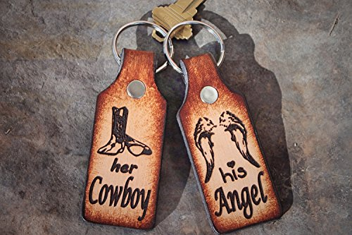 Her Cowboy, His Angel Leather Keychain Set for Two--one to keep and one to give