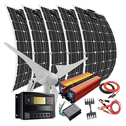 Kit de generador solar de 900 W con inversor de 2000 W: 400 W turbina de viento, 5 paneles solares flexibles de 100 W, controlador de carga solar de 40 A, regulador de viento, cables y conectores
