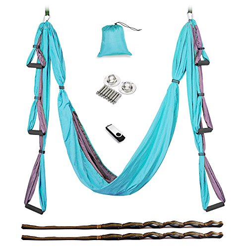 Check Out This Aukiee Yoga Swing/Hammock/Trapeze/Sling for Antigravity Yoga Inversion Exercises-(6 i...