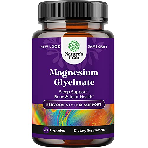 Magnesium Glycinate Capsules Mineral Supplement - Calming Magnesium Supplement for Women and Mens Natural Sleep Aid Immune Support Bone Health Mood Support Heart Health and Muscle Recovery - 60 Count