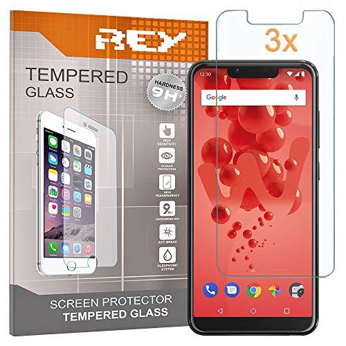 REY [Lot de 3] Verre Trempé pour WIKO View 2 Plus - WIEW 2 GO, Protecteur d'écran qualité supérieure