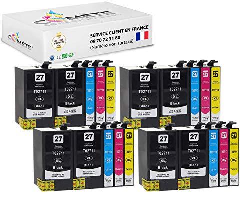 20 cartucce Premium compatibili 27XL per stampanti T2711 T2712 T2713 T2714 WF-7620DTWF WF-7610DWF WF-7110DTW WF-3640DTWF WF-3620DWF - 8 nere, 4 ciano, 4 magenta + 4 giallo