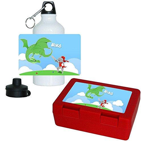 Brotdose + Trinkflasche Set mit Namen Niko und schönem Motiv mit Ritter und Drache für Jungen | Aluminium-Trinkflasche | Lunchbox | Vesper-Box