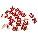 Logbuch-Verlag Adventskalenderzahlen 1-24 Holzklammern Klammern rot m. Zahlen aus Filz f. DIY Adventskalender Weihnachtskalender selbermachen basteln