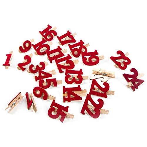 Logbuch-uitgeverij Adventskalendergetallen 1-24 houten klemmen klemmen rood m. cijfers van vilt voor DIY adventskalender kerstkalender zelf maken knutselen
