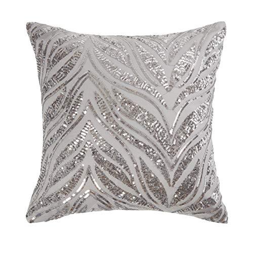 Sleepdown Kissen mit glitzernden Pailletten, gefüllt, 40 x 40 cm, Silbergrau, Polyester und Baumwolle, Silber, Filled Cushion 40cm x 40cm