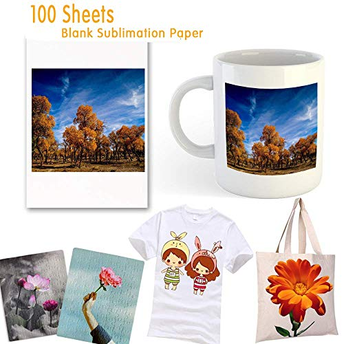 Papel de sublimación, 100 hojas de papel de transferencia de tinta por sublimación, 8.27 pulgadas x 11.7 pulgadas para transferencia de calor, taza, camiseta, tela liviana, bricolaje