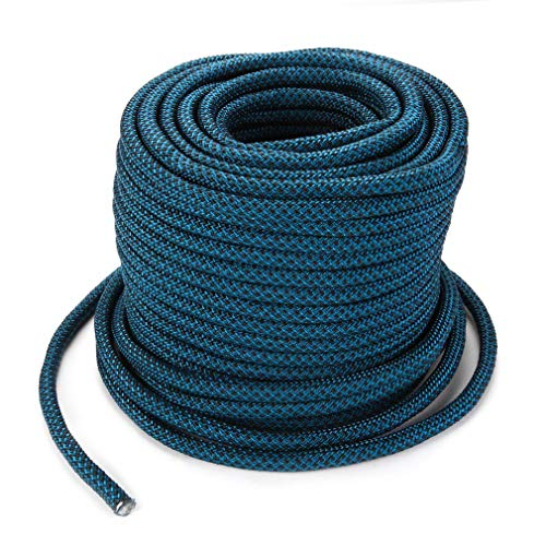 Kunyoxiu Kletterseil 40M, Feuer im Freien Notausgangs Seil, 9.8mm Durable Berg geflochtenen Seil, for Feuer Notfall/Klettern/Tier (Blau)