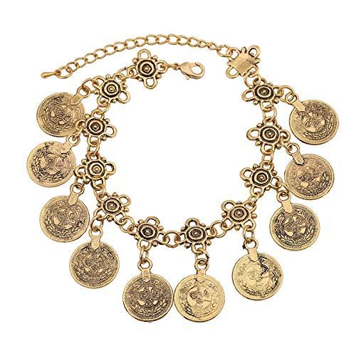 KHOBGLU Damen Armband Münze Dekor Armband Gold Farbe Bettelarmband Mode Frauen Schmuck Exquisites Vielseitiges Armband Für Frauen