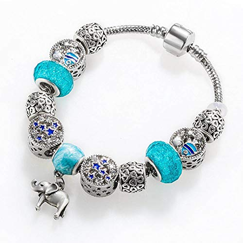 KYHMSL Retro Charms Armband Blau Kristall Glück Bedeutung Armbänder & Armreifen Elefant Sterne Anhänger Splitter Kette Frauen Schmuck