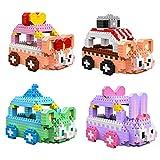 FJJF Mini Bloques De Construcción Animal Rabbit Mouse Car Modelo Puzzle Juego Bloque De Construcción DIY Ensamblado Jugador De Niños Regalo (4 Piezas)