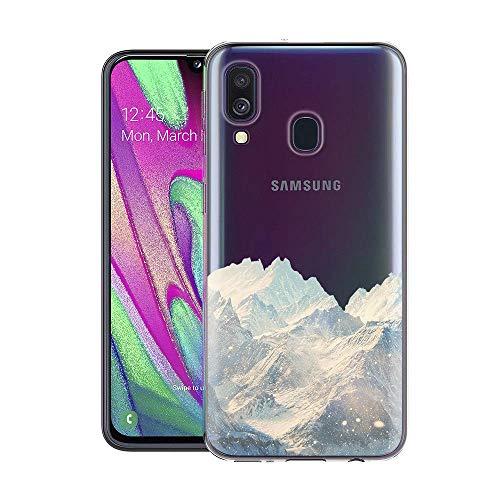 ZhuoFan Cover SamsungGalaxyA40, Custodia Cover Silicone Trasparente con Disegni Ultra Slim TPU Morbido Antiurto 3D Cartoon Bumper Case Protettiva per SamsungGalaxyA40 (Neve Montagna)