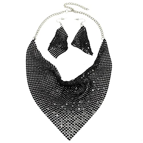 Nicey Set de joyería India Shining Rhinestone Metal Slice Bib Choker Collares Pendientes Pendientes Fiesta de Moda Joyería de Moda Conjuntos 2020