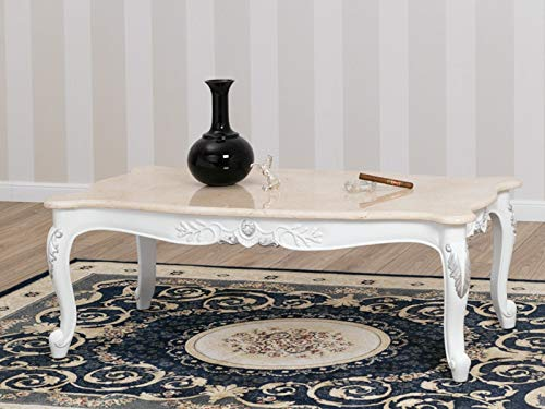 SIMONE GUARRACINO LUXURY DESIGN Table Basse de Salon Arald Style Baroque Moderne Blanc laqué et Feuille Argent marbre crème