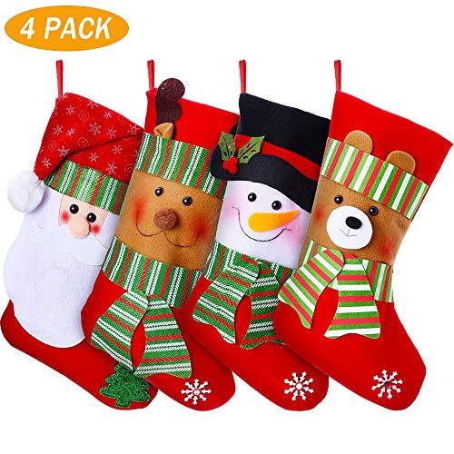 YQing 4 Pezzi Calze Natalizie Calze della Befana Grandi, 15 Pollici Calza di Natale Calze per Regali e Dolcetti, Sacchetto Porta Caramelle, con Personaggi Natalizi Decorazioni