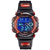 Socico Niños Digital Relojes para Niños Deportes–5 ATM Reloj Deportivo Impermeable al Aire Libre con Alarma Cronómetro,Relojes de Pulsera Electrónicos para Niños. (Rojo-L)