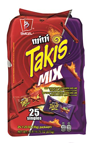 Barcel Mini Takis - Crunchy Rolled Tortilla Chips – Nitro and Fuego Flavor Mix, 25 Individual Snack Packs (1.2 oz)