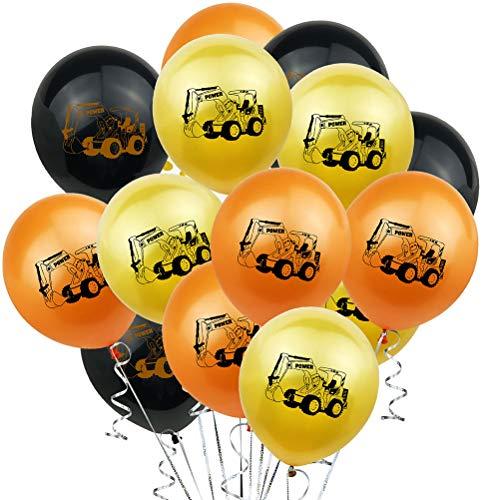 Toyandona 24 Stück 30,5 cm Bagger bedruckte Luftballons Motto Party Latex Ballons für Geburtstag Babyparty Events – ohne Band (Golden/Orange/Schwarz)