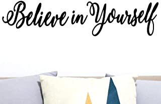 CrafteLife Believe in Yourself Decal Mirror Sticker | Wall Quote for Home Decor | Wall Sticker for Motivation and Improved Self Esteem (22 x 5 inches)