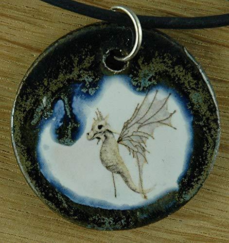 Echtes Kunsthandwerk: Hübscher Keramik Anhänger mit einem Seepferdchen; Seenadel, Fantasy, Meer, Tier, Aquarium, Schwimmabzeichen