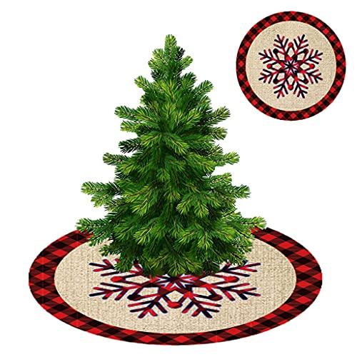 DONTHINKSO Falda de árbol de Navidad con diseño de flores de nieve, color rojo, negro, para interiores y exteriores, fiestas, decoración de hotel, suministros de encaje de lino de 120 cm